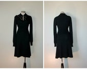 reserved  60s dress // vintage 1960s knit black long sleeve sweater dress med