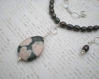 Storms of spring necklace, rhodonite, pearls, sterling silver, pink and grey necklace, unique jewelry by Grey Girl Designs on Etsy
