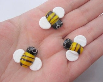 bees lampwork glass beads
