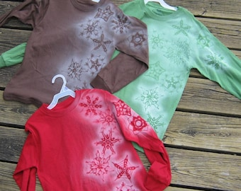 wintery long sleeve tees for girls, size L (10-12)