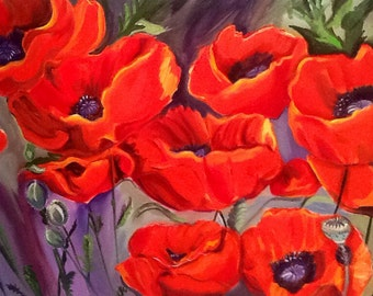 Southwestern Poppies VII - Original Oil Painting.  Available on comission only.