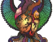 My Heart Has Wings - The Tentacle Collection - Original Art postcards