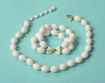 Vintage 1960s Trifari Wedding Necklace Bracelet White Beaded Summer Fashions