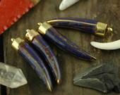 Lapis Inlaid Tusk: Nepali Brass, Shell Pendant /1 Tribal Pendant / Bohemian Fashion, Jewelry Making Supplies, Gift / Handcrafted, Supply