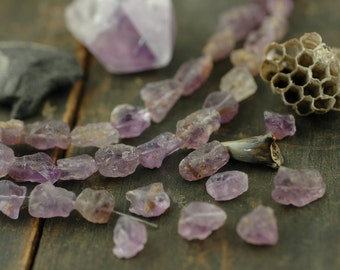 """Purple Ice: Amethyst Rough Nugget Beads / 10 beads, 4"""", 8x10mm / Purple, Orchid Natural Gemstone / Organic, Earthy Jewelry Making Supplies"""
