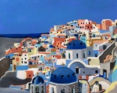 Santorini: archival PRINT of my original oil painting modern art blue white grey terra cotta beige Greece city hill town Europe architecture