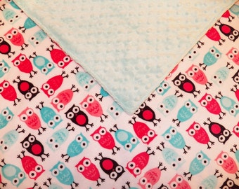 Owl Minky Baby Blanket (Ready to Ship) 50% off