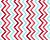 Chevron Red and Aqua Cotton Fabric from Michael Miller - 1/2 YARD (18 X 44 INCHES)
