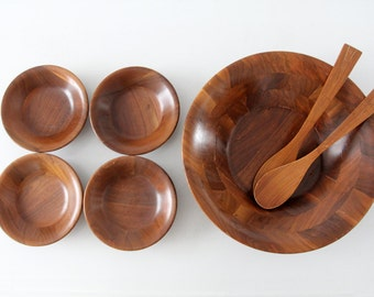 mid-century wood bowl set, vintage serving bowls,