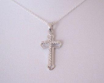 CZ Religious Double CROSS sterling silver pendant with necklace, religious jewelry