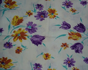 Vintage Fabric, Feedsack Material, Flowers,