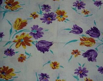 Vintage Fabric, Feedsack Material, Flowers,