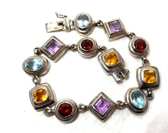 Vintage Bracelet STERLING Silver Multi color Faceted Crystals Purple Red Blue Yellow