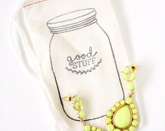 Hand Stamped Mason Jar Bags  -  GOOD STUFF