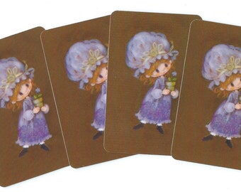 Vintage Playing Cards (4) Minatures Paper Epherema Scrapbook Collectible