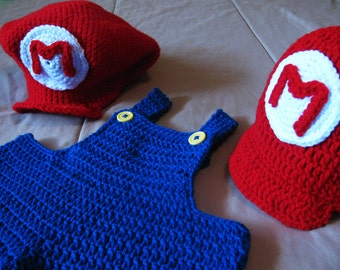 Super Mario Brothers Costume with Overalls and Hat - Baby or Toddler
