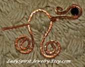 Copperwork Penannular Shawl or Tartan Pin with Faceted Black Crystal Accent
