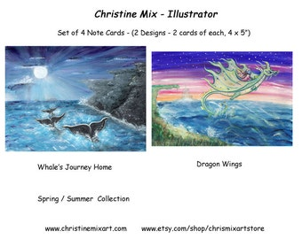 Christine Mix Note Cards - Whale's Journey Home & Dragon Wings