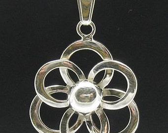 PE000020 Sterling silver pendant  925 Flower  Charm
