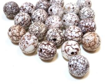 Round Magnesite Beads - Gemstones - Semi Precious - brown cream off white Turquoise 12mm