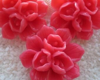 Resin Triple Bud Flower Cabochon - 39mm - 3pcs - Rose Pink
