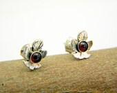 Leaf sterling silver earrings,  garnet studs -organic leaf studs -Oxidized leaf jewelry-handmade jewelry