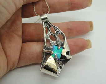 New 9K Yellow Gold & 925 Sterling Silver opal stone filigree pendant (sp2060)