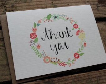 Floral Wreath Thank You Cards with Envelopes / Chic / Elegant / Classic Stationery / Set of 10