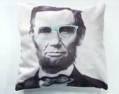 """Hipster Lincoln 18"""" Velveteen Pillow Cover"""
