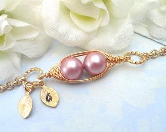 Pea pod bracelet, two peas in a pod, mothers bracelet, friendship bracelet, sisters bracelet, personalized bracelet, gold bracelet