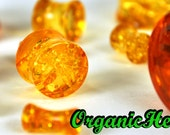 """Amber Double Flare Plugs 6g-1"""" (Sold as Pair) Handmade Body Jewelry Plugs (6g, 4g, 2g, 0g, 00g, 1/2"""", 9/16"""", 5/8"""", 3/4"""", 7/8"""", 1"""")"""