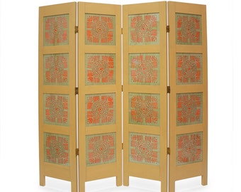 Room divider in yellow, red and green