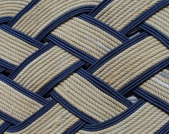 "38"" x 20"" Rope Doormat Rug Natural and Navy Tightly Woven Recycled Rope Made in USA Alaska"