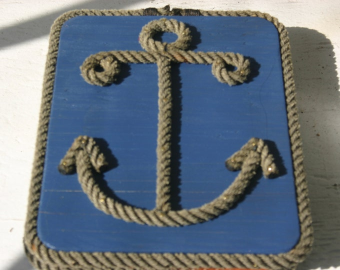 Anchor Sign Nautical Decor Art Perfect for Gifts Boats Nursery Weddings Stained Navy Red Purple