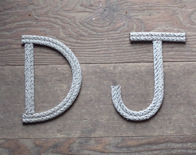 """6"""" Rope Letters Personalize for New Baby Wedding Alphabet Nautical Decor 6 INCH Text Letters Natural"""