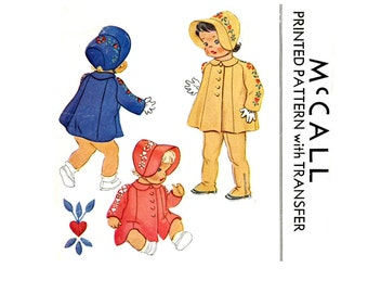 1940s Toddlers Vintage Sewing Pattern Breast 21 McCall 1082 Childrens, Coat, Bonnet, Leggings, Embroidered Hats, Suspender Pants, Snow Pants