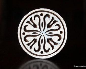 ON SALE Pottery Stamps, Indian Wood Stamp, Textile Stamp, Wood Blocks, Tjaps, Printing Stamp- Round Floral Design