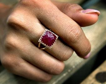 pink rose gold ring,ruby ring,square ring,gemstone ring,feminine ring,double band ring,vintage ring