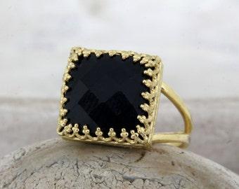 square black ring,gold ring,black onyx ring,black diamond alternative,14k gold filled rings,natural stone ring