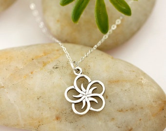 Sterling Silver Five Petal Openwork Flower Necklace, simple, everyday