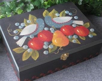Hand Painted Folk Art Box -- Birds and Fruit Design