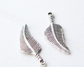 12pcs / Leaf / Oxidized Silver Tone / Base Metal Charms (YA11298//C339)