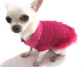 Hot Pink Sexy Dog Dresses Costumes Fur Feather Fancy Chihuahua Clothes Handmade Crochet Designer Dogs Myknitt DK894 - Free Shipping