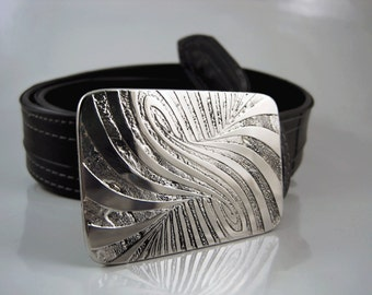 Wormhole Belt Buckle - Etched Stainless Steel - Handmade