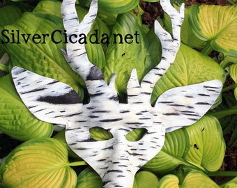 Leather Mask Birch Bark Stag.  Great for Halloween, Burning Man, Masquerade Costume Winter Solstice Performance Mardi Gras Cosplay Dragoncon