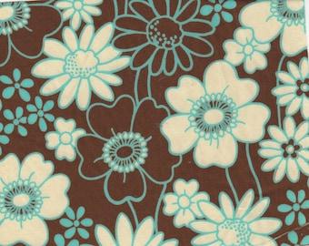 2 yards Brown and Aqua Cotton Floral Robert Kaufman Fabric