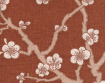 1 3/4 yards Rust Brown Oriental Floral Cotton Fabric
