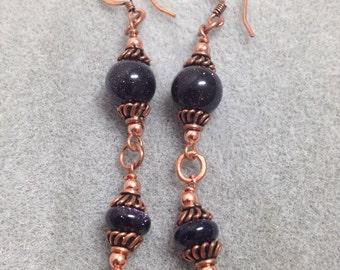 Blue Goldstone & copper earrings