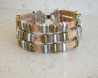 Portuguese cork light brown bracelet with zamak clasp 20mm - cork bracelet - Portugal - Portuguese cork - (PU70Z11)