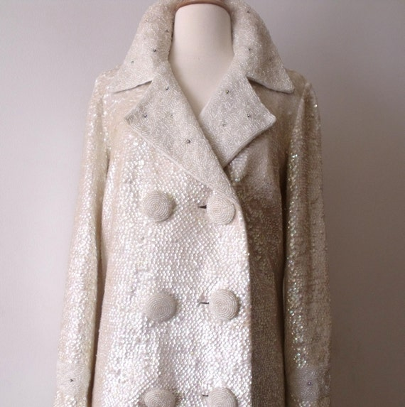 RESERVED Regalia Imports Sequins and Beads Evening Wool Coat //  BRITISH Hong Kong // Size 14 // Wedding
